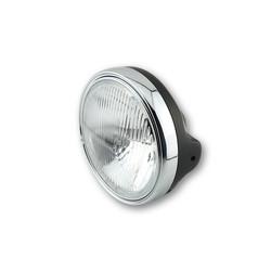 Headlight Universal Round 13cm Black / Chrome