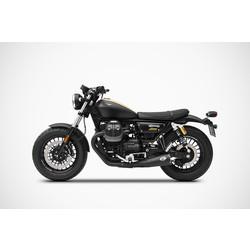 Exhaust  Moto Guzzi V9 Bobber-Roamer, 17-, Stainless+Keramik Black, slip on, Euro 4