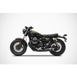 Uitlaat Moto Guzzi V9 Bobber-Roamer, 17-, RVS + Keramik Black, slip on, Euro 4
