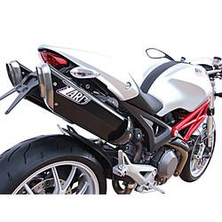 PENTA-Auspuff Ducati Monster 696-796-1100, 09-, Alu Black, Slip-On, E-Markiert, + Cat.