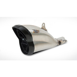 Uitlaat Ducati Diavel, RVS satijn, Carbon eindkap, slip on, E-Marked, Cat.