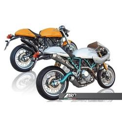 Auspuff Ducati Classic / Paul Smart / Classic 1000, rostfreies Schwarz, E-Markierung, Slip on 2-2