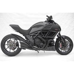 Auspuff Ducati Diavel, Edelstahl Schwarz, Slip-On, E-Markierung, Kat., Schwarze Endkappe