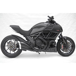 Uitlaat Ducati Diavel, RVS zwart, slip on, E-gemarkeerd, Cat., Zwarte eindkap