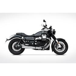 Auspuff Moto Guzzi California, 14-, rostfreie schwarze Runde, Slip on 2-2, E-Markiert
