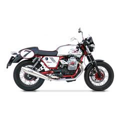 Pot d'échappement Moto Guzzi V7 Cafe Racer / Cafe Classic, poli, slip on 2-2, E-Marked, + Cat.