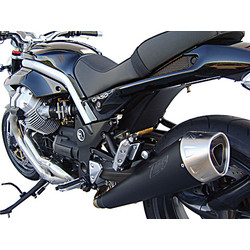 Auspuff Moto Guzzi Griso 2V-4V, Edelstahl Schwarz, Slip-On, E-Markiert, + Cat.
