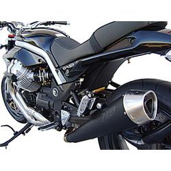 Pot d'échappement Moto Guzzi Griso 2V-4V, Inox noir, slip on, E-Marked, + Cat.