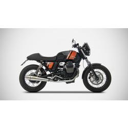 Uitlaat Moto Guzzi V7 Classic, RVS, slip on 2-2, E-gemarkeerd, + Cat.