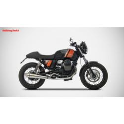 Auspuff Moto Guzzi V7 Classic, rostfrei poliert, Slip on 2-2, E-Markiert, + Cat.