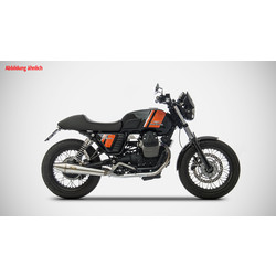 Pot d'échappement Moto Guzzi V7 Classic, Inox poli, slip on 2-2, E-Marked, + Cat.