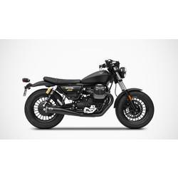 Auspuff Moto Guzzi V9 Bobber-Roamer 16-19, Edelstahl Schwarz, langer Slip-On, E-Markierung, Euro4