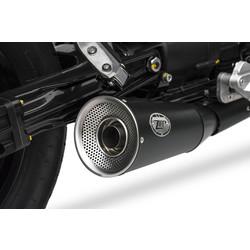 Uitlaat Moto Guzzi V9 Bobber-Roamer, 17-, RVS, slip on, E-Marked, Euro 4