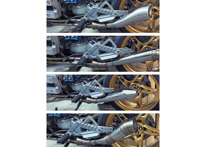 BMW K100 Edelstahl Auspuff Collector 30°