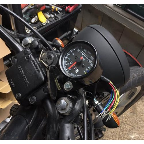 Black Speedometer with 3 Function Lights