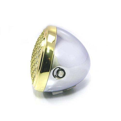 """7 """" Scrambler Koplamp Brass & Chrome Extra Groot"""