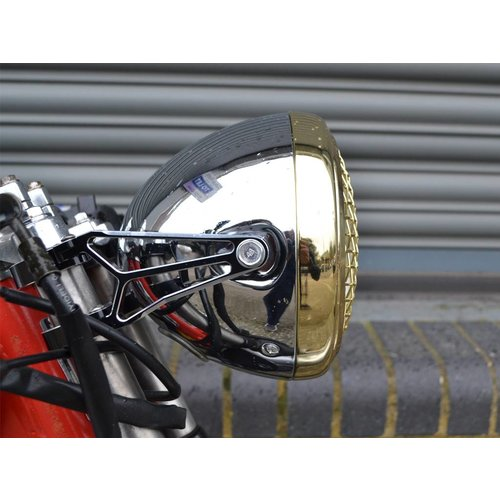 "7.7"" Scrambler Koplamp Brass & Chrome Extra Groot"