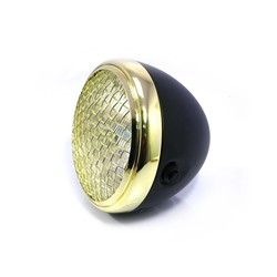 "7 "" Scrambler Koplamp Brass & Black Extra Groot"
