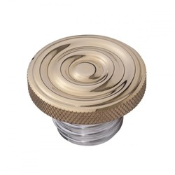 Custom Fuel Gas Cap - Brass Rippled Top - Aluminium Thread - Rippled