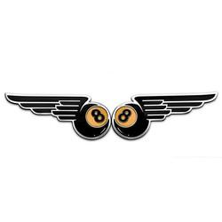 """Paire de badges """"Winged 8-Ball"""" - Aluminium"""