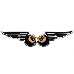 Winged 8-Ball Kraftstofftank / Seitenwand Embleme - Billet