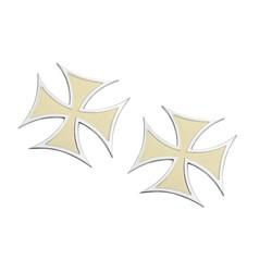 Paire de badges Croix de Malte - Crème - Aluminium