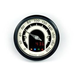 49MM Analog-Tacho Speedo MST Speedster Schwarz Eloxiert