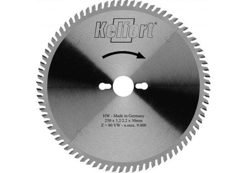 Kelfort Cirkelzaagblad 250mm TF (negatief) 80 tanden