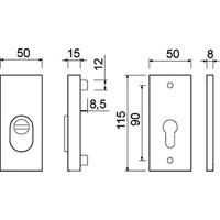 Rozet rvs met kerntrekbeveiliging - Buitenrozet 15mm rechthoekig