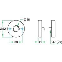 Krukrozet RVS rond 52x11 mm.
