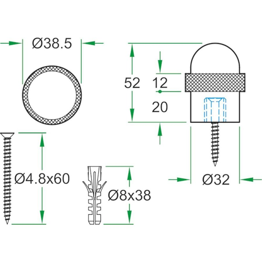 Deurstopper RVS 32x54mm