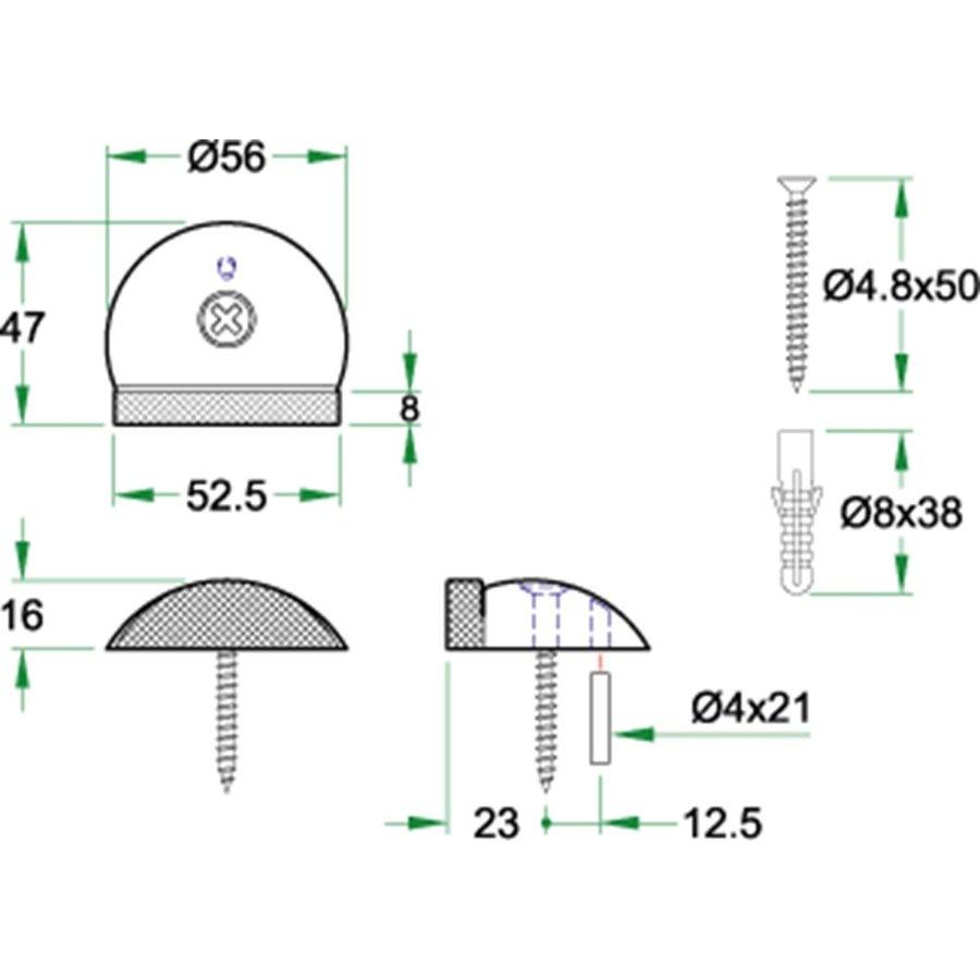 Deurstopper  RVS 57x17.5mm