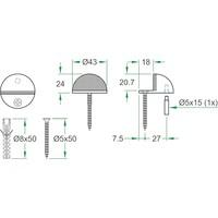 Deurstopper RVS 44x28mm