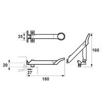 Combi-raamuitzetter wegdraaibaar 160 mm - RVS