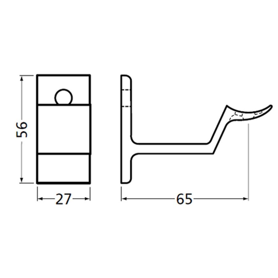 Leuninghouder stokschroef M8 - Rond zwart 3543-18