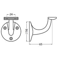 Leuninghouder 65mm - Vlak nieuw zilver