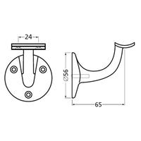 Leuninghouder 65mm - Rond zadel zwart