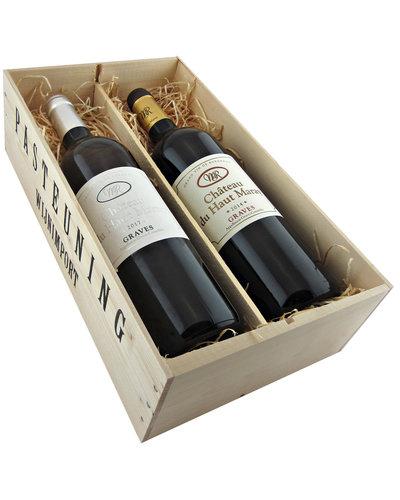 Relatiegeschenken Kistje Bordeaux - Haut Maray Graves wit & rood