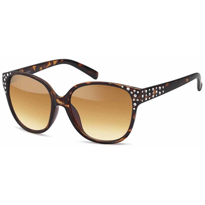 Dames Leopard Zonnebril met Strass Steentjes