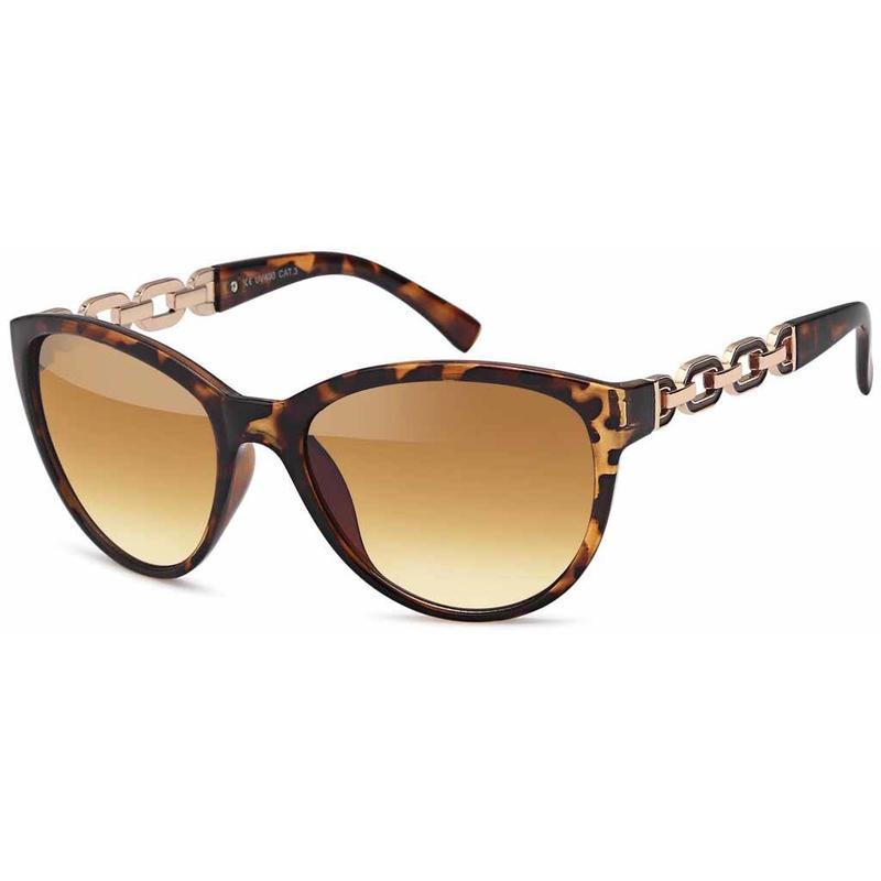 Bruine dames zonnebril met Goudkleurige Schakels - Copy