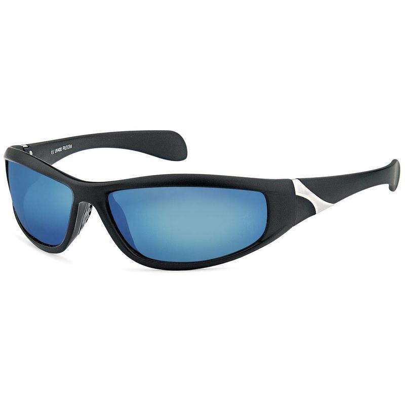 Zwarte Sportbril met Blauwe Spiegelglazen