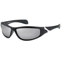 Zwarte Sportbril met Zilverkleurige  Spiegelglazen