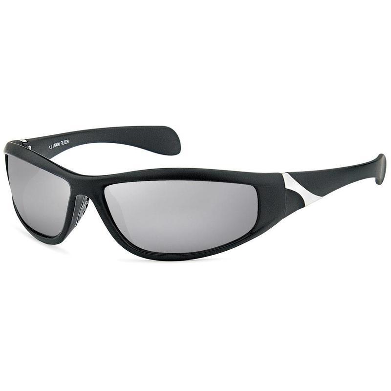 Zwarte Sportbril met Zilveren  Spiegelglazen
