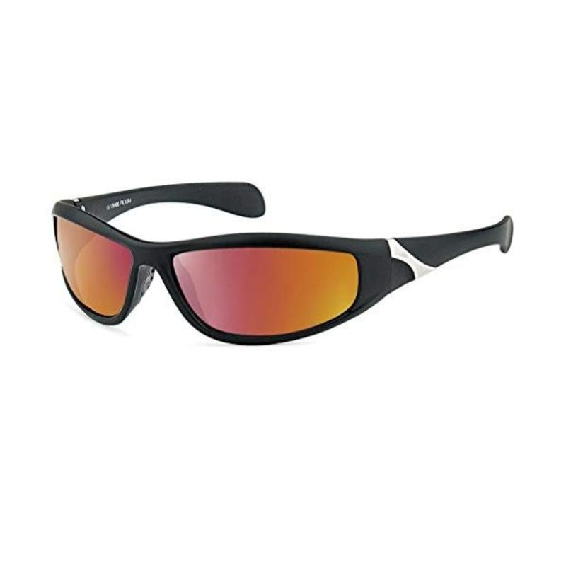 Zwarte Sportbril met Oranje Spiegelglazen