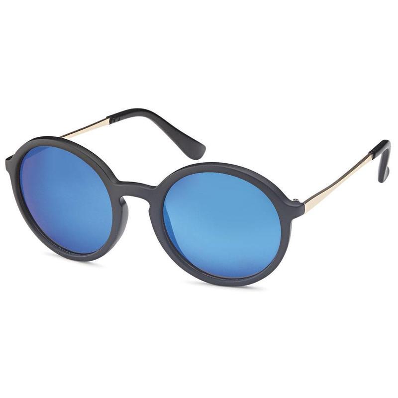90256adcb6dd7a Matzwarte ronde zonnenbril met ronde spiegelglazen ...