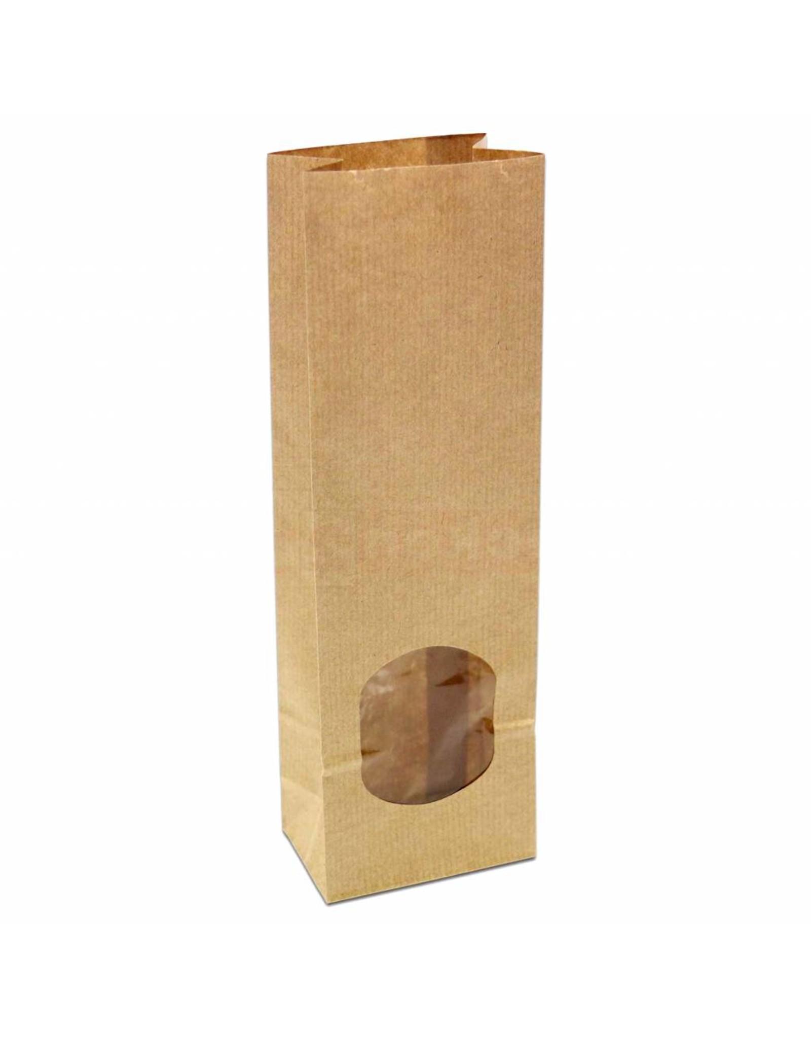Blokbodem zakjes van kraft papier met venster