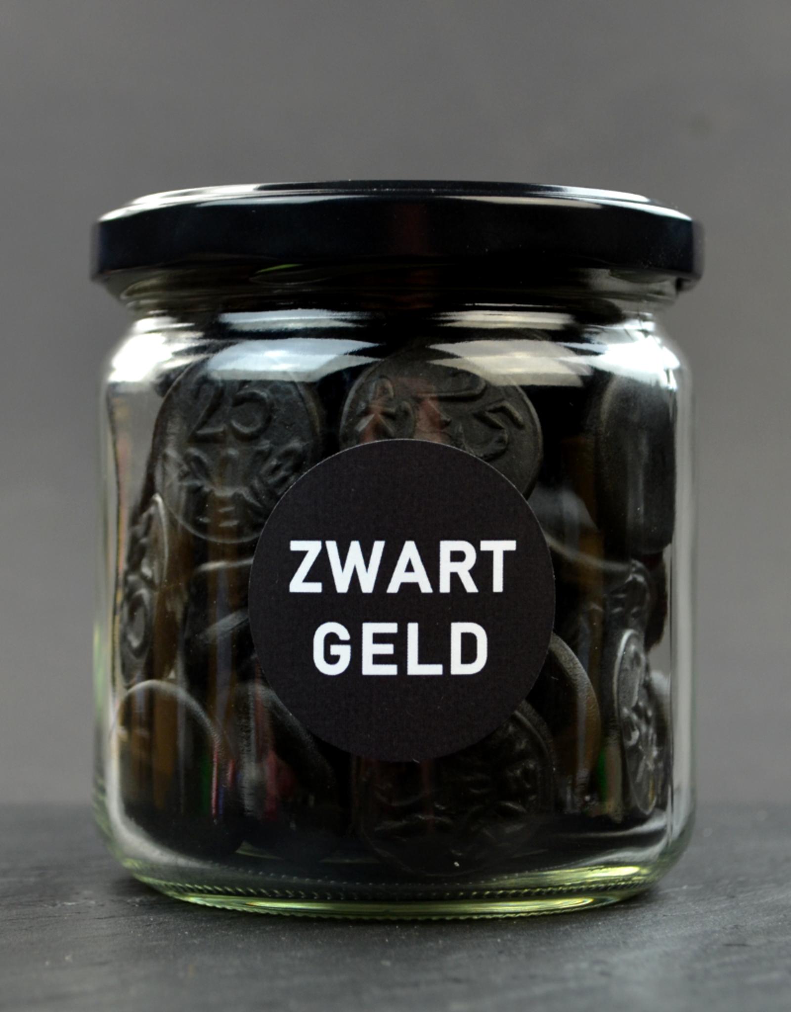 Zwart Geld - muntdrop in mooie glazen pot - Snoepkado met drop