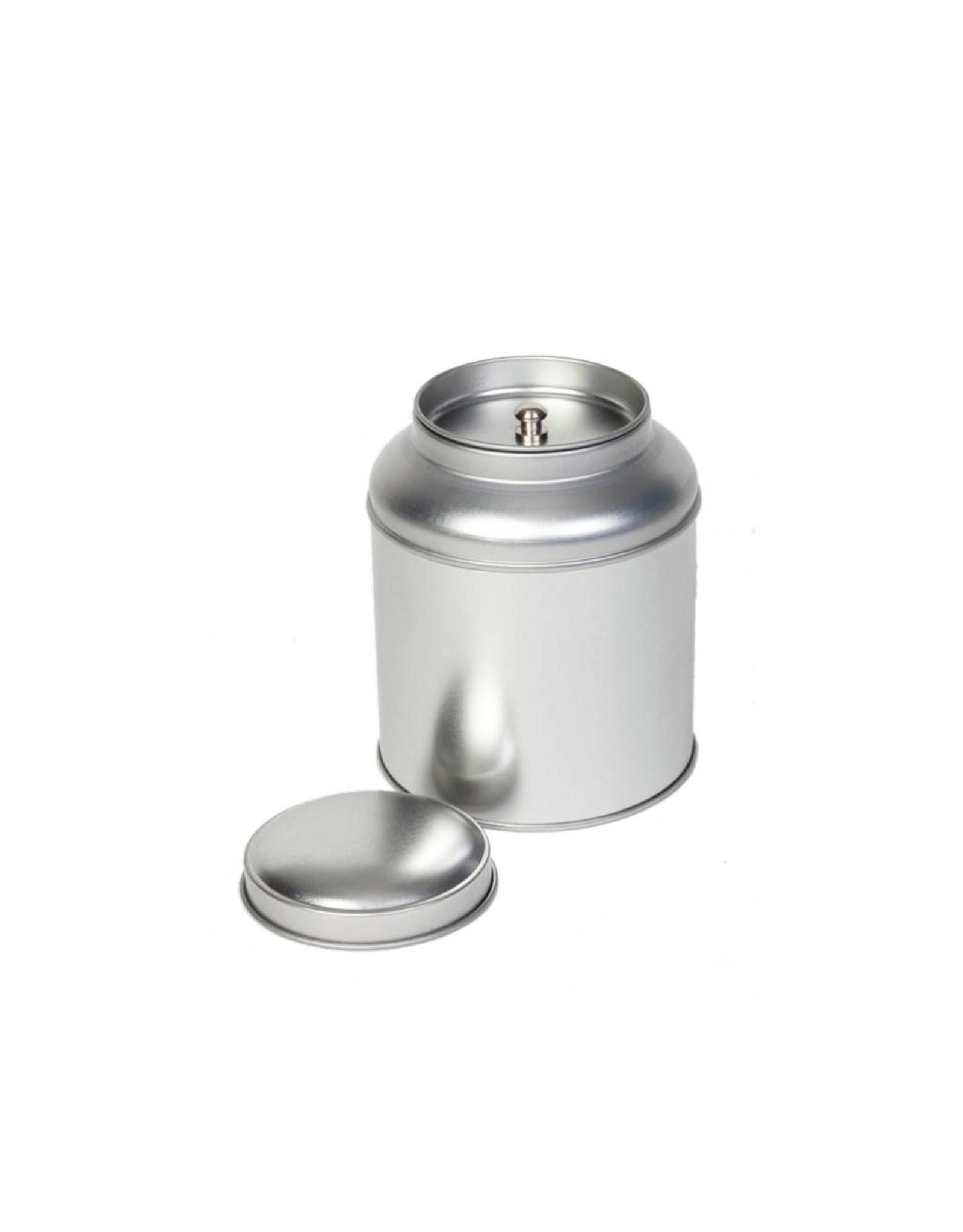 Thee caddy zilver 90x115mm blik