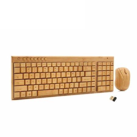 Geeek Houten Bamboe Toetsenbord met Muis