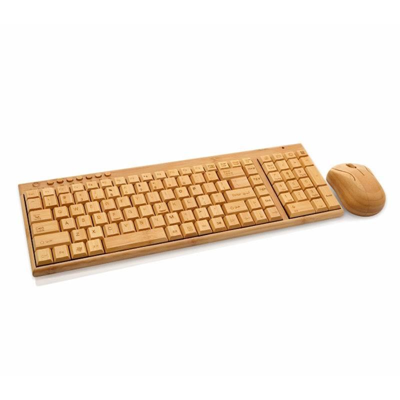 Dit bamboe houten toetsenbord met muis is een super cool toetsenbord. compatible met windows pc, ...